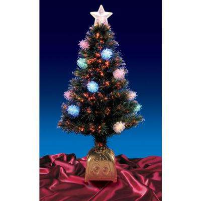 4 ft. Pre-Lit LED Multi Lights Fiber Optic Pine Cone Artificial Christmas Tree