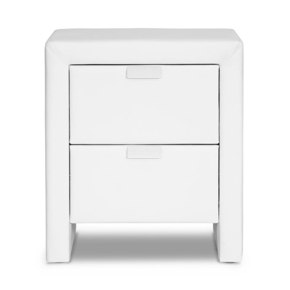 baxton studio frey contemporary white faux leather upholstered Nightstand