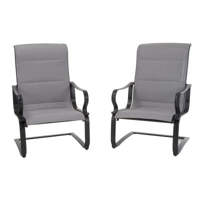 SmartConnect Gray Padded Sling Motion Patio Lounge Chairs (2-Set)