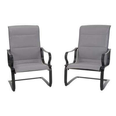 SmartConnect Gray Padded Sling Motion Patio Lounge Chairs (2-Set) - Sling Patio Furniture - Recently Added - Patio Chairs - Patio