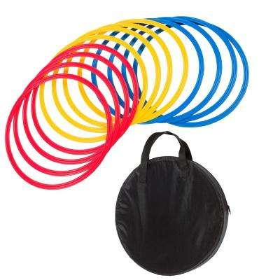 16 in. Dia Speed and Agility Training Rings with Carry Case in Multi-Color (Set of 12)