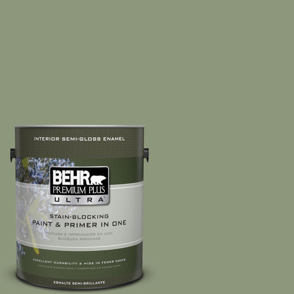 BEHR Premium Plus Ultra 1-gal. #ECC-63-1 Autumn Sage Semi-Gloss Enamel Interior Paint