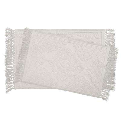 Ricardo Cotton Fringe 17 in. x 24 in./21 in. x 34 in. 2-Piece Bath Rug Set in White