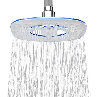 2-Spray 7.88 in. Single Wall Mount Waterfall Fixed Adjustable Shower Head in Chrome
