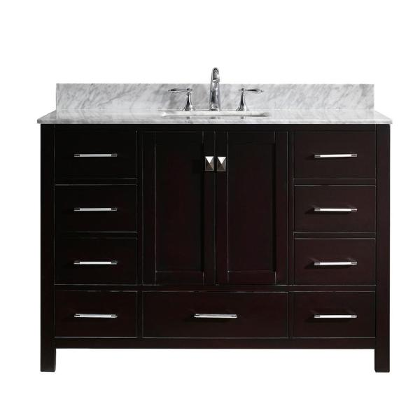 Caroline Avenue 49 in. W Bath Vanity in Espresso with Marble Vanity Top in White with Square Basin