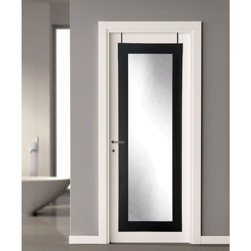 21.5 in. x 71 in. Black Over the Door Full Length Framed Mirror