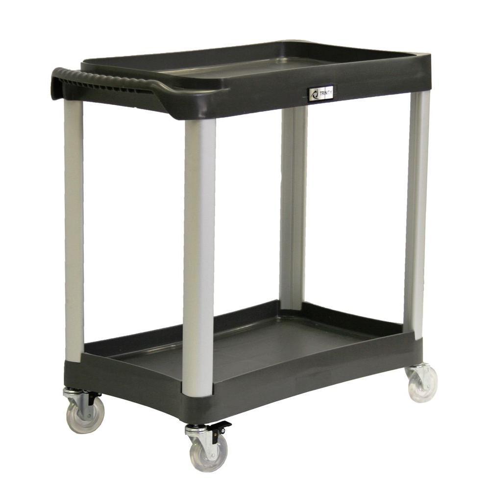 Trinity EcoStorage 2-Tier Commercial Grade Utility Cart in Black by Trinity