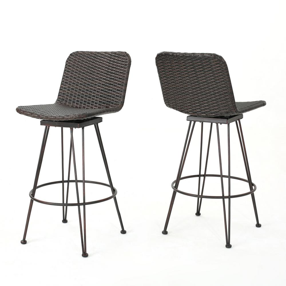 Noble House Tobias Swivel Wicker Outdoor Bar Stool (2-Pack)