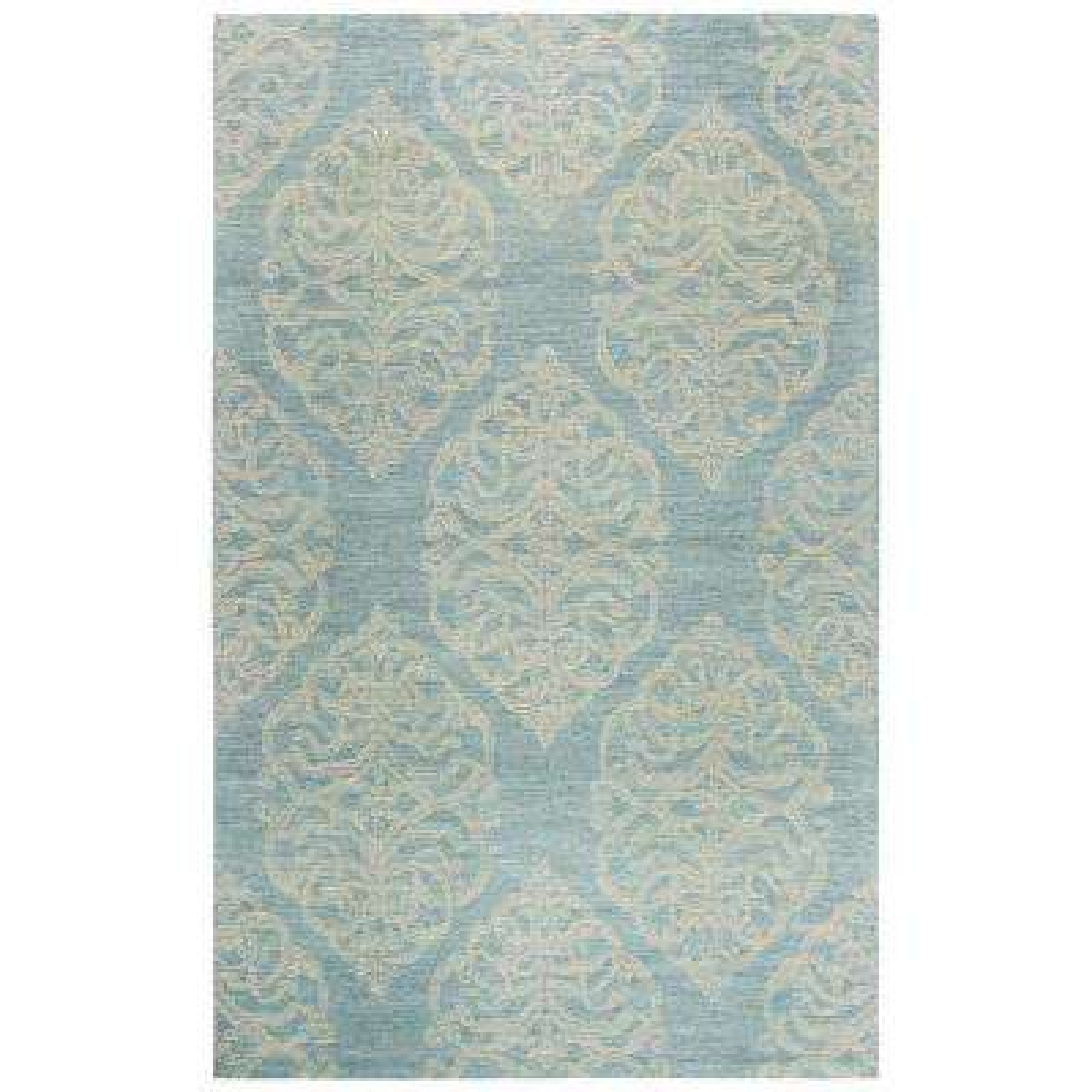 Opulent Light Blue Medallion Hand Tufted Wool 9 ft. x 12 ft. Area Rug