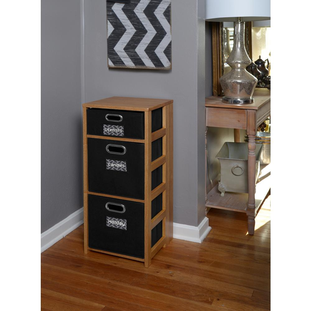 Flip Flop Medium Oak and Black 3-Shelf Folding Bookcase and Storage