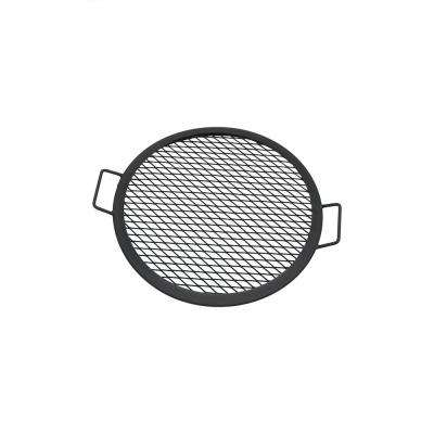19 in. X-Marks Round Steel Black Fire Pit Cooking Grill Grate