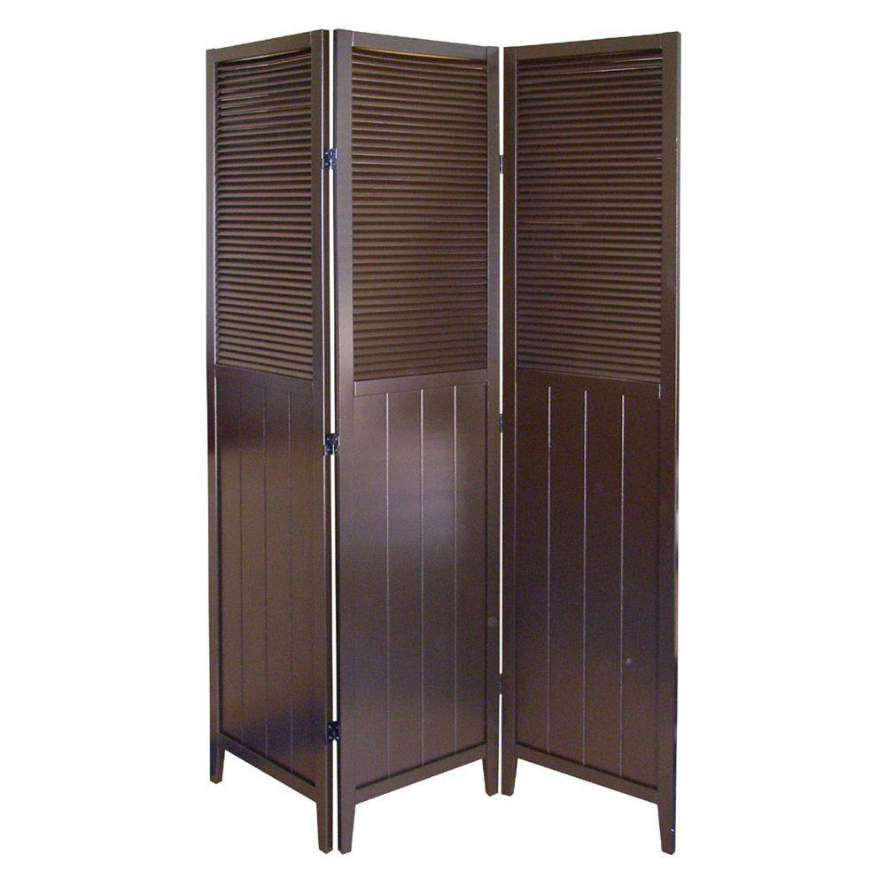 5.83 ft. Espresso 3-Panel Room Divider