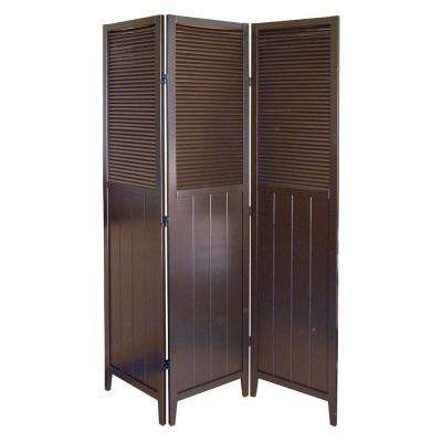 Lovely Espresso 3 Panel Room Divider
