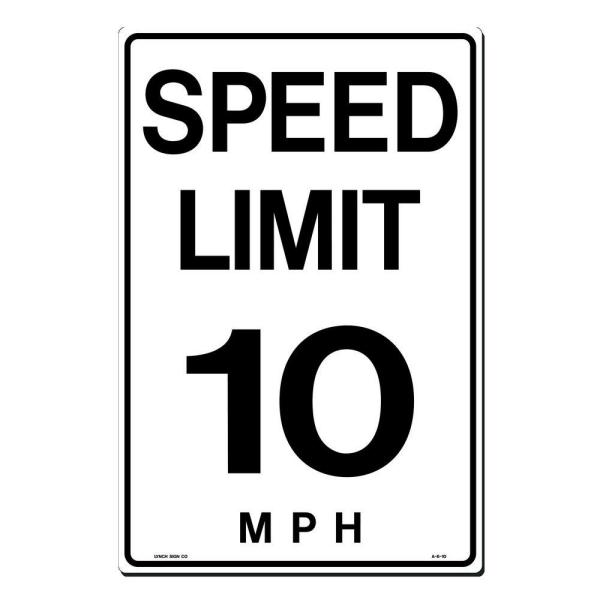 12 in. x 18 in. Speed Limit 10 M.P.H. Sign Printed on More Durable, Thicker, Longer Lasting Styrene Plastic