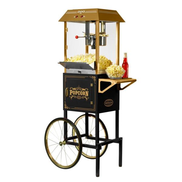 Commercial 10 oz. Black Popcorn Machine with Cart