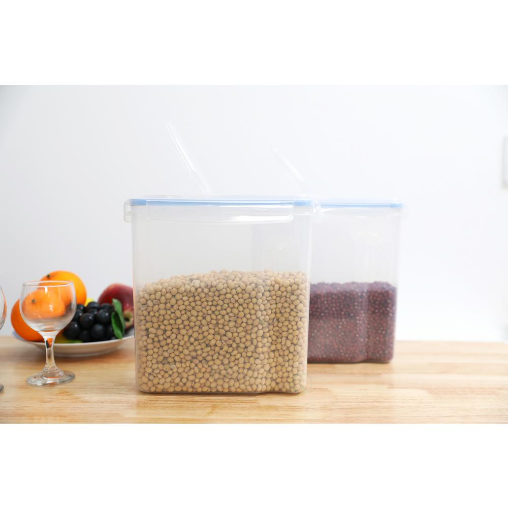 Large BPA-Free Plastic Food Cereal Containers with Airtight Spout Lid (Set