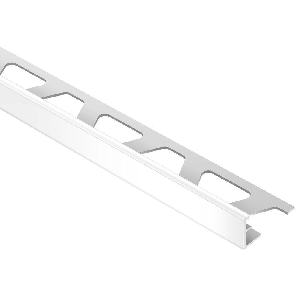Jolly Bright White Aluminum 3/8 in. x 8 ft. 2-1/2 in. Metal Tile Edging Trim