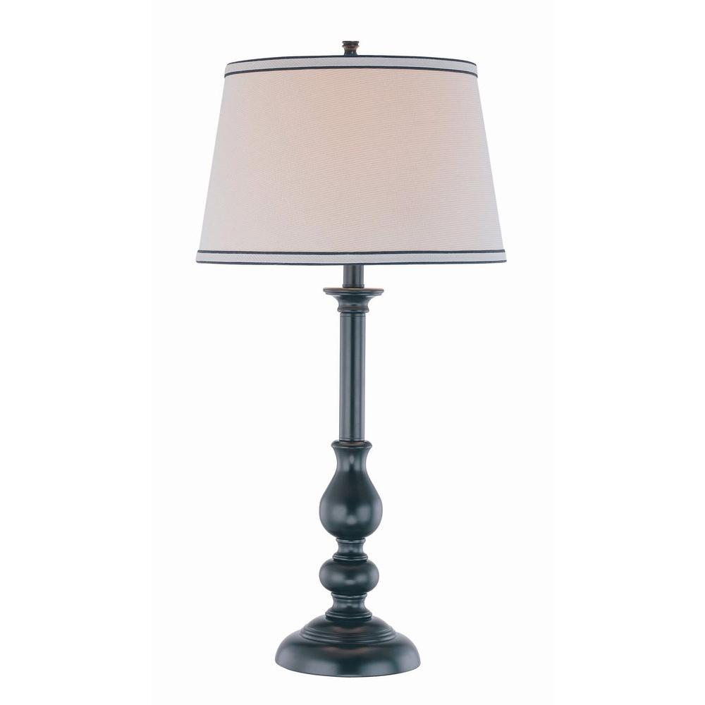 Illumine Designer Collection 30.5 in. Black Table Lamp with Beige Fabric Shade