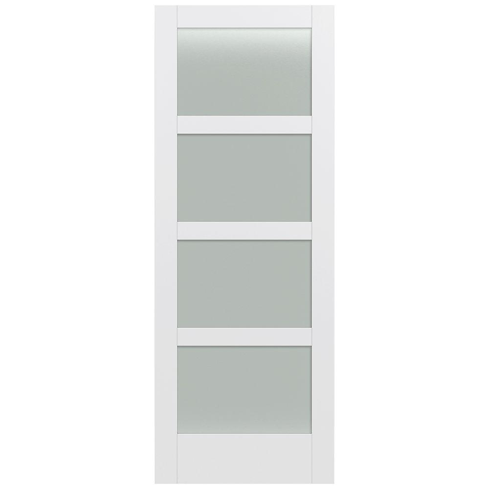 Jeld-Wen 36 in. x 96 in. Moda Primed PMT1044 Solid Core Wood Interior Door Slab w/Translucent Glass