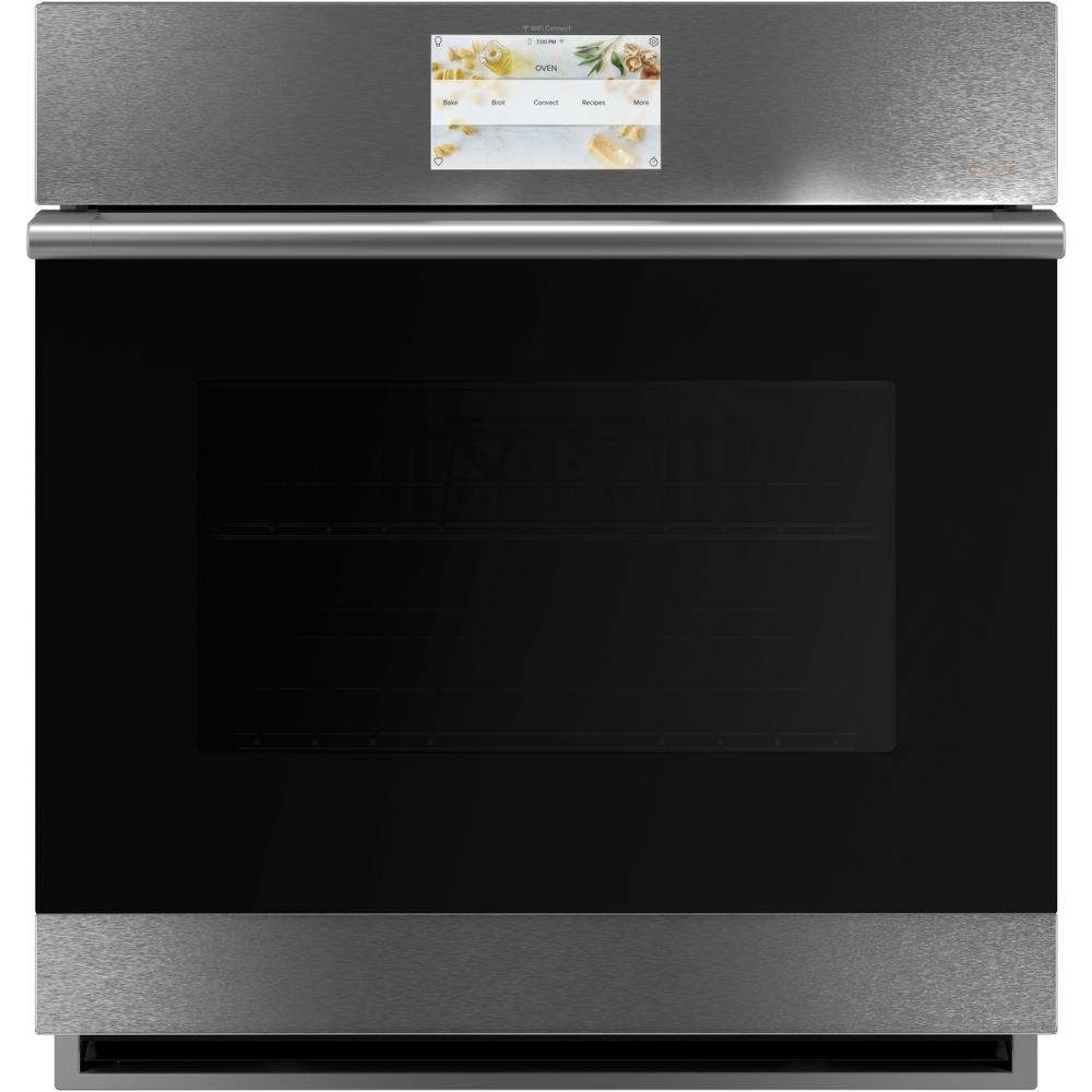 Cafe 27 in. Smart Single Electric Wall Oven with Convection Self-Cleaning in Platinum Glass