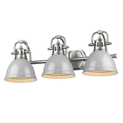 Duncan 3-Light Pewter Bath Light with Gray Shade