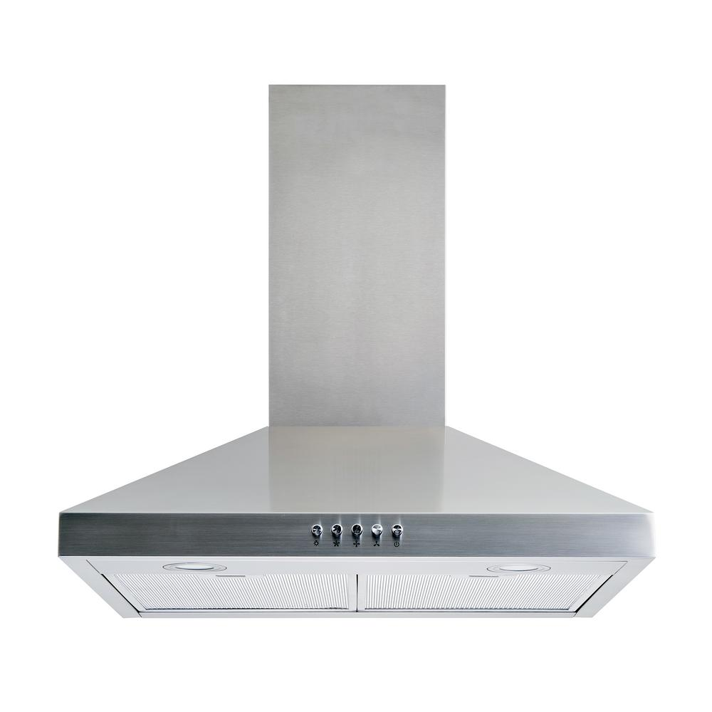 30 in. Convertible Wall Mount Range Hood in Stainless Steel with Aluminum Mesh Filters LED lights, Push Button Control
