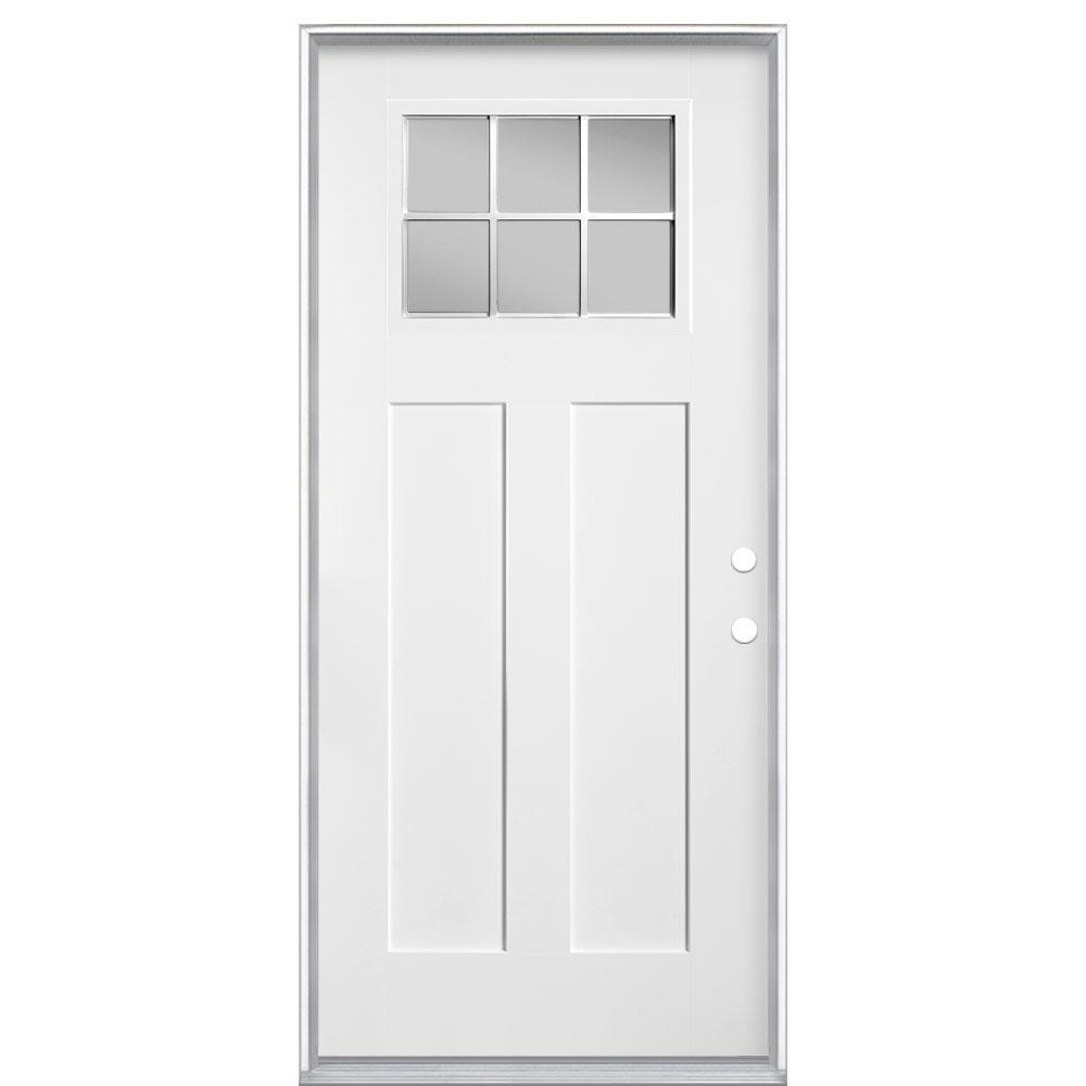 Masonite 36 in. x 80 in. Craftsman 6 Lite Left Hand Inswing Primed Smooth Fiberglass Prehung Front Door with No Brickmold
