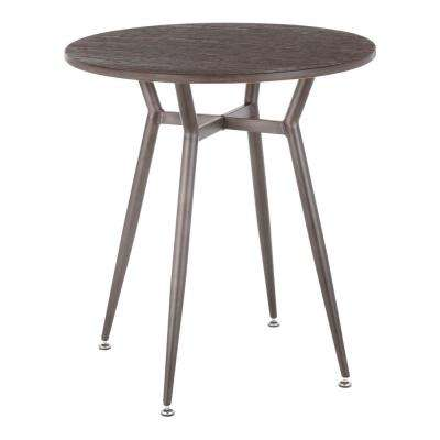 Clara Round Antique Metal and Espresso Wood Dinette Table