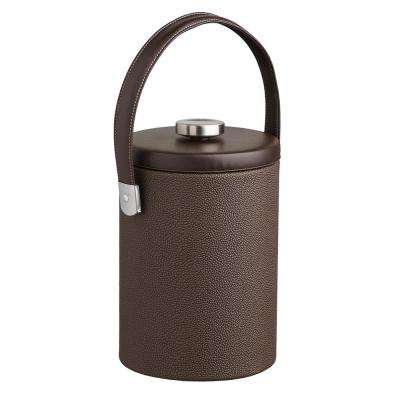 Cosmopolitan 2 Qt. Mocha Tall Ice Bucket with Strap Handle and Thick Flat Lid