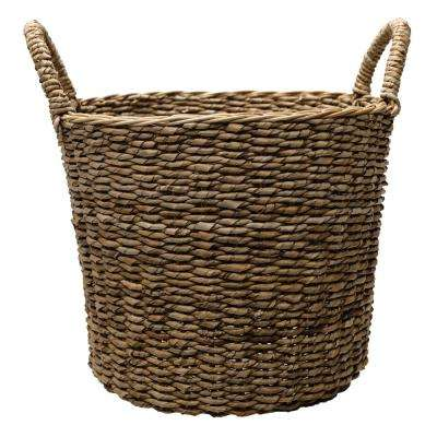 17 in. Dia Seagrass Basket Planter in Natural with Plastic Liner