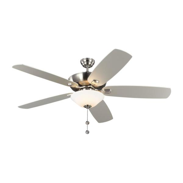Colony Super Max Plus 60 in. Indoor/Outdoor Brushed Steel Ceiling Fan with Light Kit