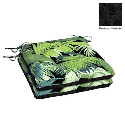 Black Tropicalia Attached Ties Outdoor Chair Cushions Outdoor