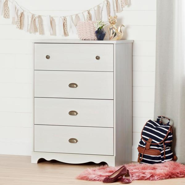 South Shore Caravell 4-Drawer Chest in White Wash 10299
