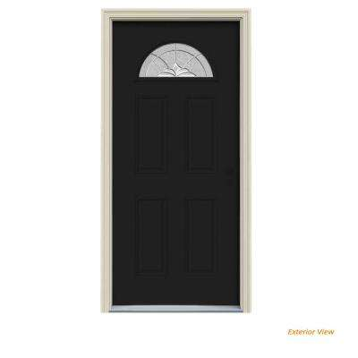 32 in. x 80 in. Fan Lite Langford Black w/White Interior Steel Prehung Left-Hand Inswing Front Door w/Brickmould