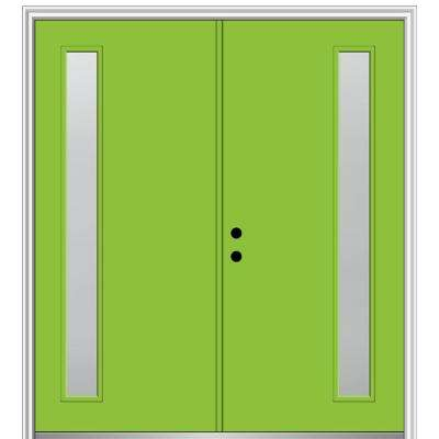 64 in. x 80 in. Viola Right-Hand Inswing 1-Lite Frosted Painted Fiberglass Smooth Prehung Front Door on 4-9/16 in. Frame