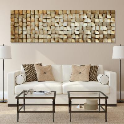 "72 in. x 22 in. ""Textured 2"" Mixed Media Wooden Hand Painted Dimensional Wall Art"
