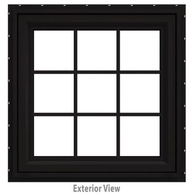36 in. x 36 in. V-4500 Series Black FiniShield Vinyl Awning Window with Colonial Grids/Grilles