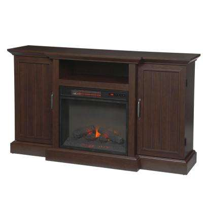 60 in. Freestanding Media Console Electric Fireplace TV Stand in Midnight Cherry