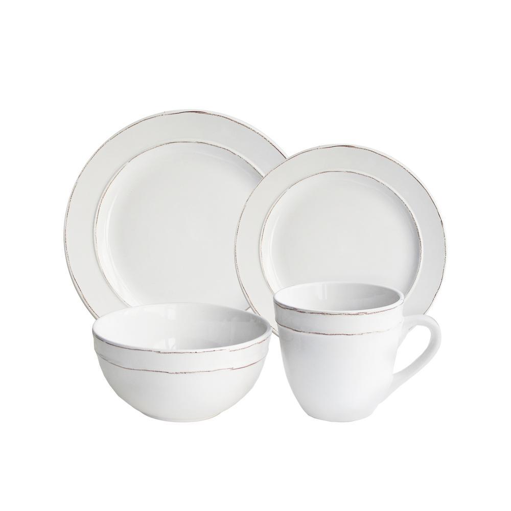American Atelier 16 Piece Olivia White Dinnerware Set 6511 16 Rb