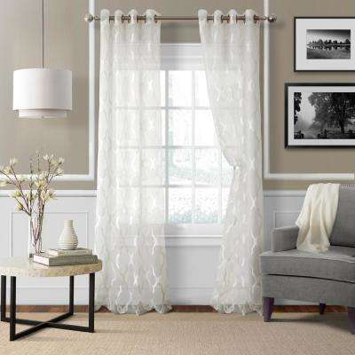 Sheer Sonata Sheer White Ironwork Window Panel - 52 in. W x 84 in. L