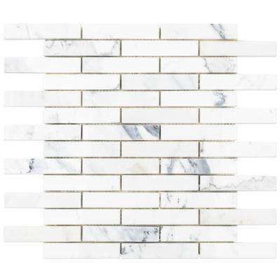 Big Brick Calacatta 11.94 in. x 12 in. x 10.5 mm Marble Mosaic