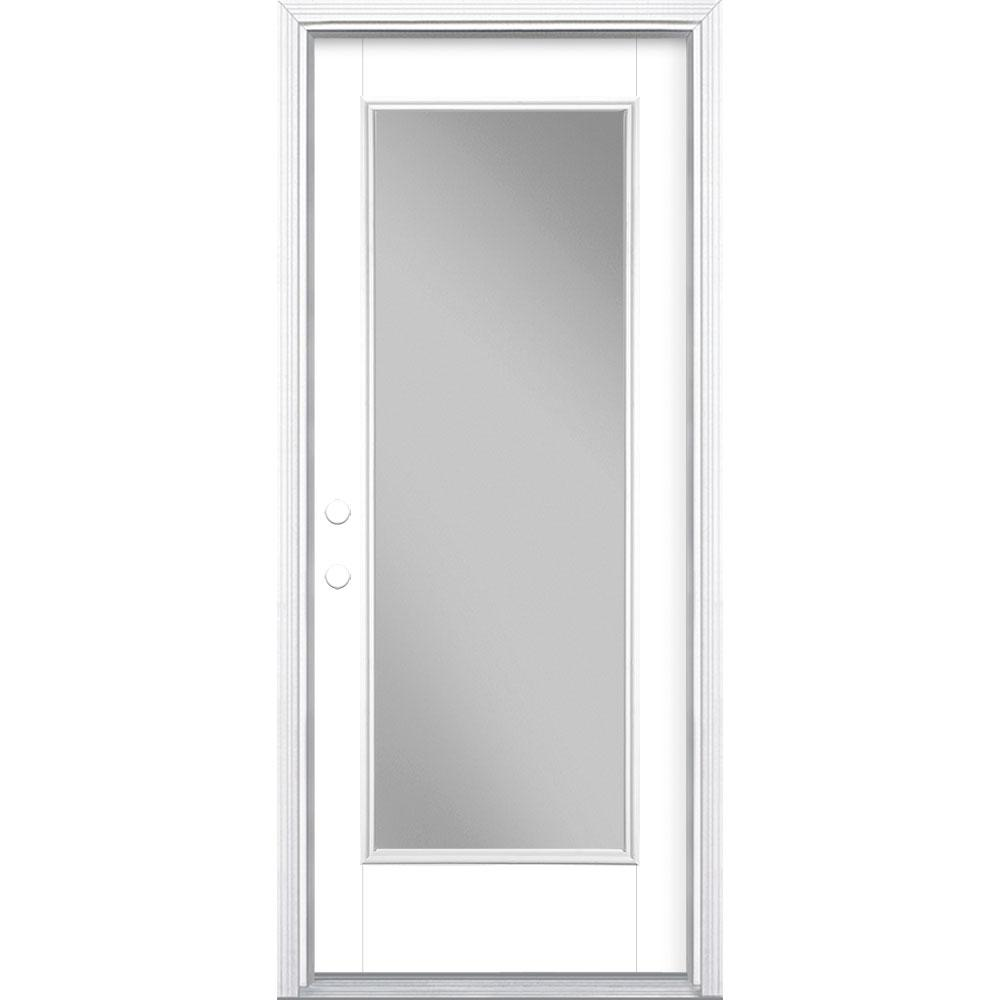 Masonite 32 in. x 80 in. Full Lite Pure White Right-Hand Inswing Painted Smooth Fiberglass Prehung Front Door w/ Brickmold