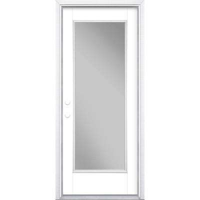 32 in. x 80 in. Full Lite Pure White Right-Hand Inswing Painted Smooth Fiberglass Prehung Front Door w/ Brickmold
