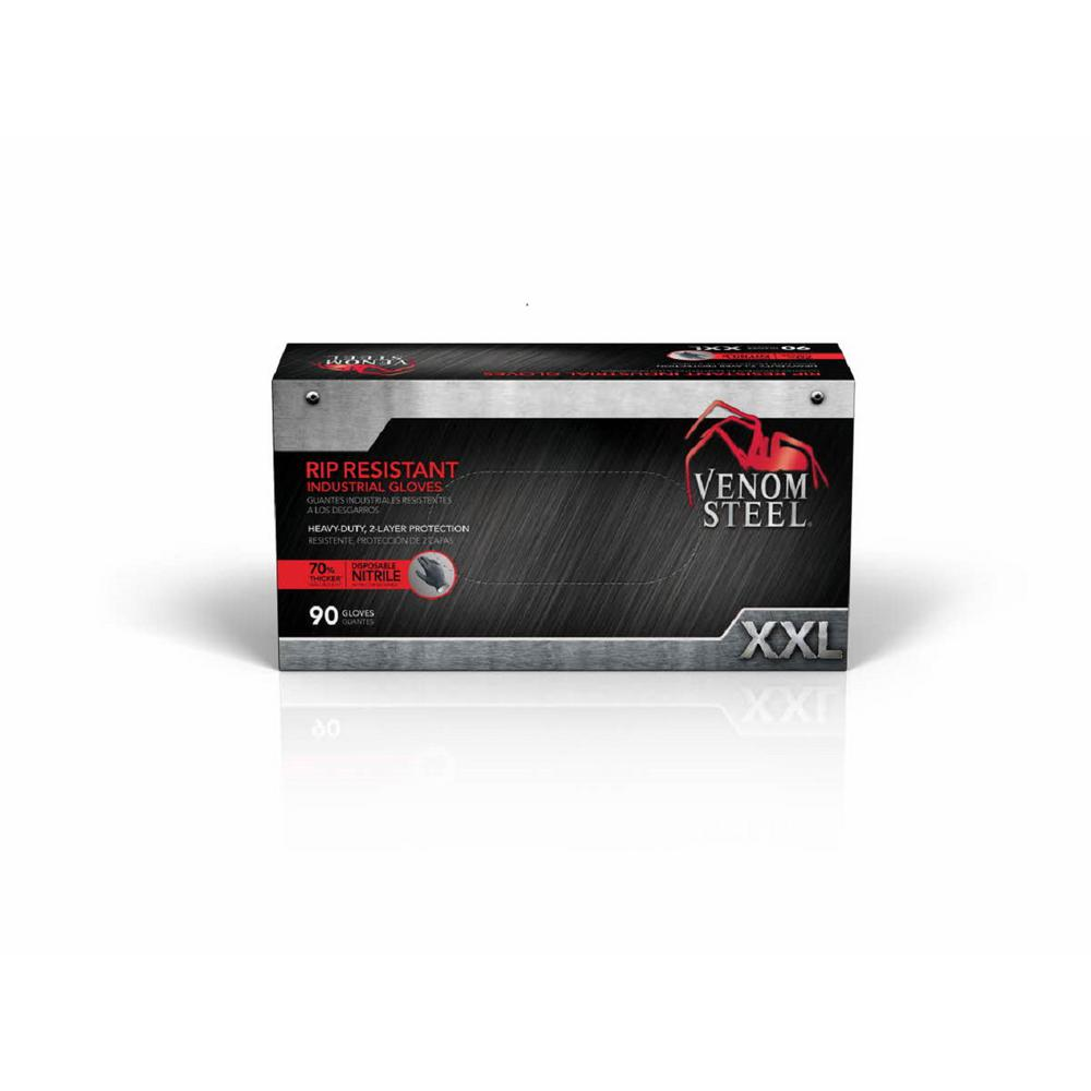 Venom Steel XX-Large Black Nitrile Heavy-Duty Gloves (90