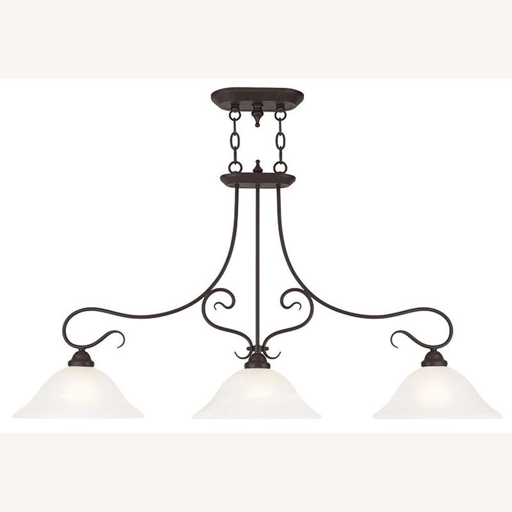 Livex Lighting Coronado 3-Light Bronze Island Chandelier with White Alabaster Glass Shade