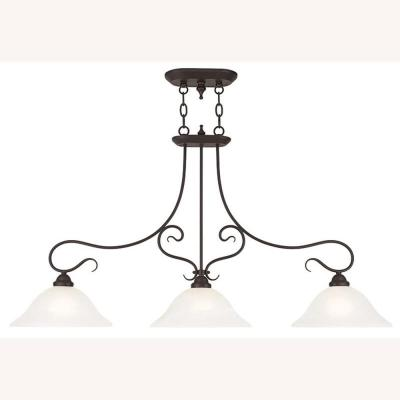 Coronado 3-Light Bronze Island Chandelier with White Alabaster Glass Shade
