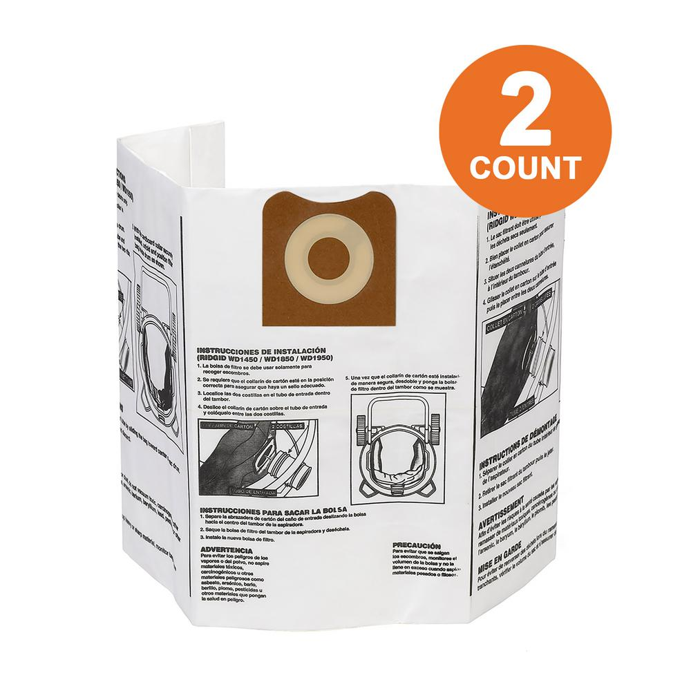 RIDGID High-Efficiency Size A Dust Bags for 12 Gal. to 16 Gal. RIDGID Wet/Dry Vacs (2-Pack)