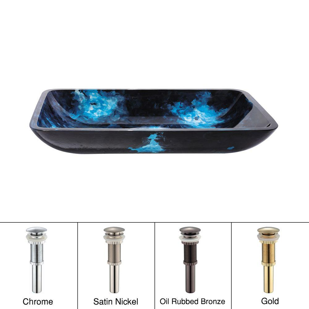 KRAUS Glass Vessel Sink in Boulder Opal with Satin Nickel Pop up-DISCONTINUED