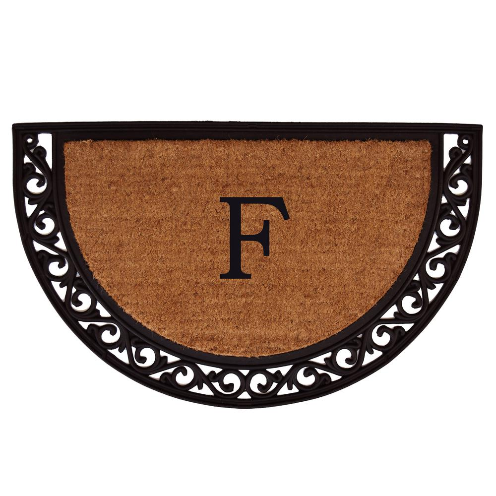 Ornate Scroll 24 in. x 36 in. Monogram F Door Mat