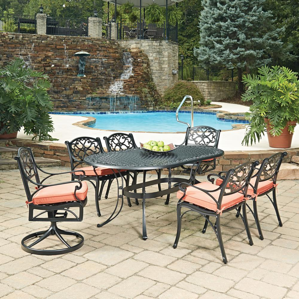 Beau Home Styles Biscayne Black 7 Piece Cast Aluminum Outdoor Dining Set With  Coral Cushions